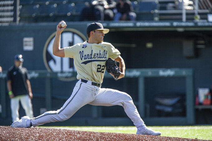 This Oct. 17, 2020, photo provided by Vanderbilt University shows Vanderbilt baseball pitcher Jack Leiter throwing during an NCAA college baseball game in Nashville, Tenn. Vanderbilt's Kumar Rocker and Jack Leiter have proved to be the most fearsome 1-2 starting pitchers in college baseball, and either one could be the No. 1 pick in the Major League Baseball draft. The last two weeks, however, have shown they're not untouchable.(Joe Howell/Vanderbilt University via AP)