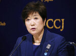 FILE - In this Feb. 18, 2019, file photo, Governor of Tokyo Yuriko Koike speaks during a press conference in Tokyo. Sapporo officials are thrilled with a proposal to move next year's Tokyo Olympic marathons to the northern Japanese city to avoid the summer heat in the city. Governor Koike was not overjoyed on Thursday, Oct. 17.