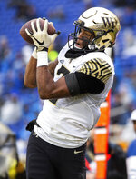 Wake Forest's Scotty Washington makes a catch for a touchdown during the first half of an NCAA college football game against Duke in Durham, N.C., Saturday, Nov. 24, 2018. (AP Photo/Ben McKeown)