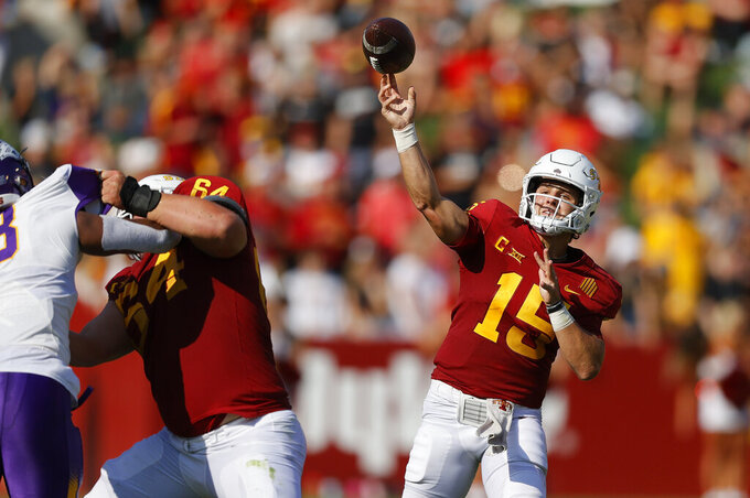 Iowa State quarterback Brock Purdy (15) sends a pass downfield during the first half against Northern Iowa in an NCAA college football game, Saturday, Sept. 4, 2021, in Ames, Iowa. (AP Photo/Matthew Putney)