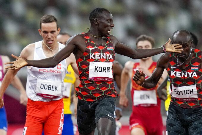 Emmanuel Korir, of Kenya, wins the men's 800-meter final at the 2020 Summer Olympics, Wednesday, Aug. 4, 2021, in Tokyo. (AP Photo/Petr David Josek)