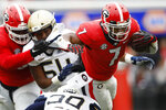 Georgia running back D'Andre Swift (7) carries the ball against Georgia Tech during the first half of an NCAA college football game Saturday, Nov. 24, 2018, in Athens, Ga. (Joshua L. Jones/Athens Banner-Herald via AP)