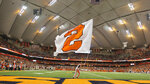 FILE - This Saturday, Nov. 19, 2016, file photo, shows the interior of the Carrier Dome before of an NCAA college football game between Syracuse and Florida State in Syracuse, N.Y. The Carrier Dome at Syracuse University hosted its first football game 40 years ago this week, and it's undergoing a major upgrade as the football season opener looms. (AP Photo/Nick Lisi, File)