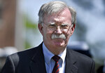 National Security Adviser John Bolton arrives to speak at the commencement for the United States Coast Guard Academy in New London, Conn., Wednesday, May 22, 2019. (AP Photo/Jessica Hill)