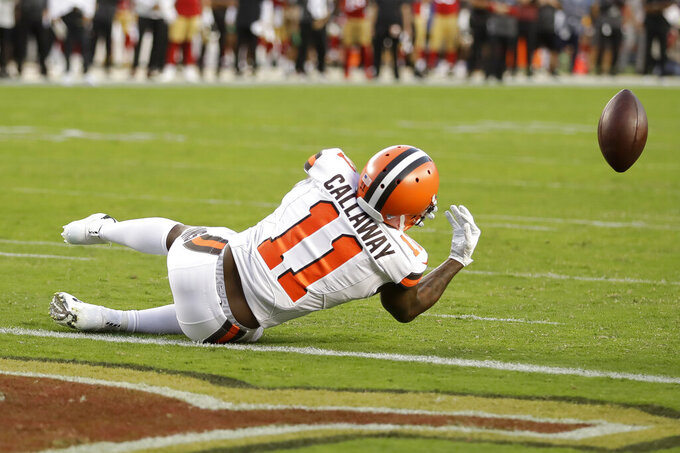 Cleveland Browns wide receiver Antonio Callaway (11) drops a pass which San Francisco 49ers defensive back K'Waun Williams intercepted during the first half of an NFL football game in Santa Clara, Calif., Monday, Oct. 7, 2019. (AP Photo/Ben Margot)