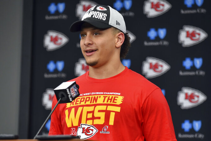 Kansas City Chiefs quarterback Patrick Mahomes speaks during a news conference following an NFL football game against the Oakland Raiders in Kansas City, Mo., Sunday, Dec. 30, 2018. The Kansas City Chiefs won 35-3. (AP Photo/Ed Zurga)
