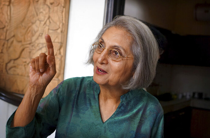 Ma Anand Sheela, spokeswoman for the controversial Osho spiritual movement in the 1980's, speaks to her fans in New Delhi, India, Friday, Nov. 1, 2019. Ma Anand Sheela, who helped controversial Indian mystic Bhagwan Shree Rajneesh set up a commune in Oregon in the 1980's and was a subject of the hit series Wild Wild Country, will star in a new documentary filmed during her first trip to India in 34 years. (AP Photo/ Krithika Varagur)