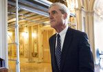 FILE - In this June 21, 2017, file photo, special counsel Robert Mueller departs after a meeting on Capitol Hill in Washington. Though the special counsel's findings remain unknown, Trump has grown increasingly confident that the report would produce what he insisted all along _ no clear evidence of a conspiracy between Russia and the Trump campaign. And the president and his closest advisers are now considering how to weaponize those possible findings. A subtle change is underway among congressional Democrats, as well, who have long believed the report would offer damning evidence against the president.   (AP Photo/J. Scott Applewhite, File)