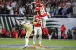 Kansas City Chiefs' Kendall Fuller (29) intercepts the ball against the San Francisco 49ers during the second half of the NFL Super Bowl 54 football game Sunday, Feb. 2, 2020, in Miami Gardens, Fla. The Kansas City Chiefs won 31-20. (AP Photo/Wilfredo Lee)
