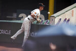 San Francisco Giants right fielder Mike Yastrzemski (5) can't get to a foul ball hit by Seattle Mariners' Dylan Moore during the first inning of a baseball game, Thursday, Sept. 17, 2020 in San Francisco. (AP Photo/D. Ross Cameron)
