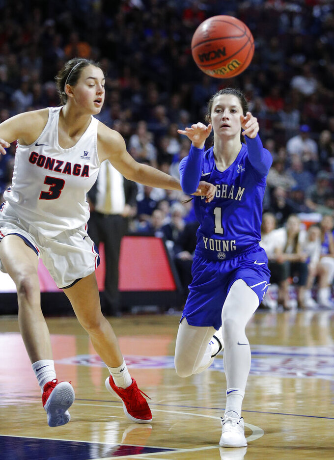 BYU's Brenna Chase passes around Gonzaga's Jenn Wirth during the first half of an NCAA final college basketball game at the West Coast Conference women's tournament, Tuesday, March 12, 2019, in Las Vegas. (AP Photo/John Locher)