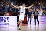 Luis Scola of Argentina celebrates during their semifinal match against France in the FIBA Basketball World Cup at the Cadillac Arena in Beijing, Friday, Sept. 13, 2019. (AP Photo/Mark Schiefelbein)