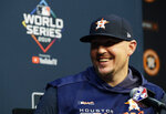 Houston Astros relief pitcher Will Harris talks to the media during a news conference for baseball's World Series, Monday, Oct. 28, 2019. Houston will play the Washington Nationals in Game 6 on Tuesday. (AP Photo/Eric Gay)