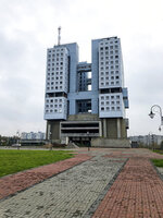 The never-occupied building is seen in Kaliningrad, Russia, Thursday, Oct. 29, 2020. The hulking never-occupied building sardonically likened to a robot's head that has loomed over the city of Kaliningrad for decades is to be demolished next year, the region's governor says. The 21-story House of Soviets was left unfinished when funding ran out in 1985 amid the Soviet Union's economic struggles and later was assessed to be structurally unsound. (AP Photo/James Heintz)