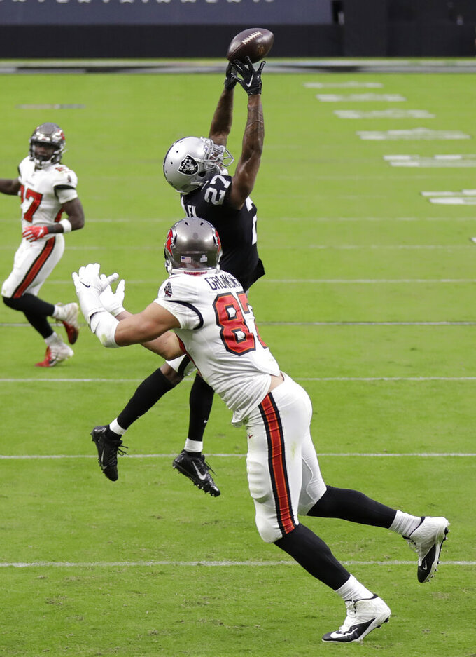 Las Vegas Raiders cornerback Trayvon Mullen (27) tips a pass intended for Tampa Bay Buccaneers tight end Rob Gronkowski (87) during the second half of an NFL football game, Sunday, Oct. 25, 2020, in Las Vegas. (AP Photo/Isaac Brekken)