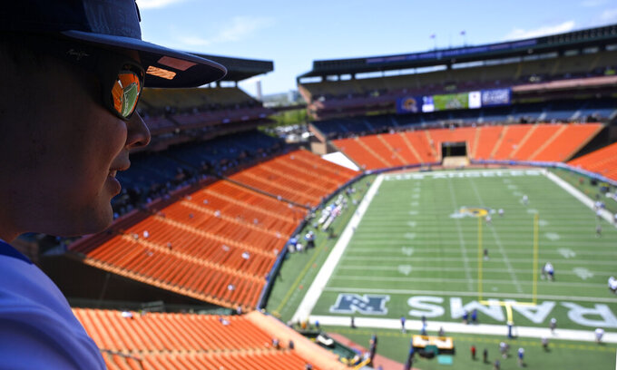 Shane Mageo waits prior to a preseason NFL football game between the Los Angeles Rams and the Dallas Cowboys on Saturday, Aug. 17, 2019, in Honolulu. (AP Photo/Mark J. Terrill)