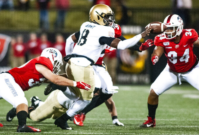 Army Black Knights quarterback Kelvin Hopkins Jr. (8) pitches the ball during WKU's 17-8 win over Army on Saturday, Oct. 12, 2019, at Houchens-Smith Stadium. (Austin Anthony/Daily News via AP)