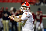 FILE - In this Saturday, Nov. 9, 2019, file photo, Clemson's Chase Brice (7) passes the ball against North Carolina State during the second half of an NCAA college football game in Raleigh, N.C. Brice, who backed up Trevor Lawrence at Clemson the last two seasons, has graduated from Clemson and now heads to Durham to start graduate school at Duke with two seasons of college eligibility remaining. (AP Photo/Karl B DeBlaker, File)