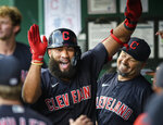 Cleveland Indians' Amed Rosario celebrates his inside-the-park home run against the Kansas City Royals during the first inning of a baseball game Tuesday, Aug. 31, 2021, in Kansas City, Mo. Rosario hit two home runs in the Indian's 7-2 win. (AP Photo/Reed Hoffmann)
