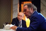 This photo taken on Wednesday, June 19, 2019, and distributed by Kremlin Press Service shows Russian President Vladimir Putin during an interview with American movie director Oliver Stone for his Revealing Ukraine documentary in the Kremlin in Moscow, Russia. (Alexei Druzhinin, Sputnik, Kremlin Pool Photo via AP)