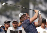 Australia's Cameron Smith tees off on the 3rd hole during the opening round of the Australian Open Golf tournament in Sydney, Thursday, Dec. 5, 2019. The Australian Open begins Thursday. (AP Photo/Rick Rycroft)