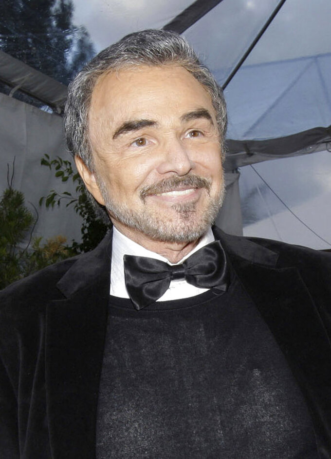 "FILE - In this Jan. 27, 2008 file photo, Burt Reynolds appears in Los Angeles. Reynolds, who starred in films including ""Deliverance,"" ""Boogie Nights,"" and the ""Smokey and the Bandit"" films, died at age 82, according to his agent.  (AP Photo/Kevork Djansezian, File)"