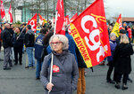 Trade union demonstrators protest in Anglet southwestern France, Saturday Dec. 7, 2019. Strikes disrupted weekend travel around France on Saturday as truckers blocked highways and most trains remained at a standstill because of worker anger at President Emmanuel Macron's policies. (AP Photo/Bob Edme)