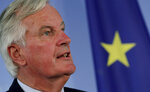 EU brexit Chief Negotiator Michel Barnier addresses the media during a joint press conference with German Foreign Minister Heiko Maas after a meeting at the foreign ministry in Berlin, Germany, Monday, Sept. 23, 2019. (AP Photo/Michael Sohn)