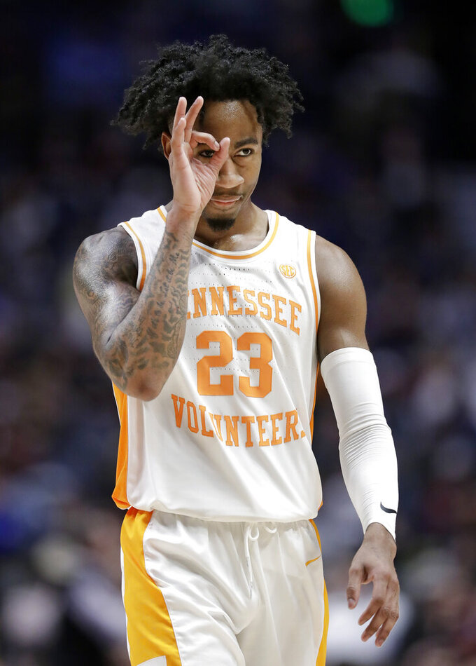 Tennessee guard Jordan Bowden celebrates after a score against Mississippi State in the second half of an NCAA college basketball game at the Southeastern Conference tournament Friday, March 15, 2019, in Nashville, Tenn. Tennessee won 83-76. (AP Photo/Mark Humphrey)