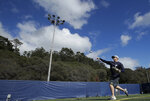 In this March 6, 2019, photo, California's Andrew Vaughn throws a ball during baseball practice in Berkeley, Calif. In a two-game span March 1 and 3 against Saint Mary's, Vaughn had four home runs with an opposite-field grand slam and drove in nine runs spanning eight plate appearances.  (AP Photo/Jeff Chiu)