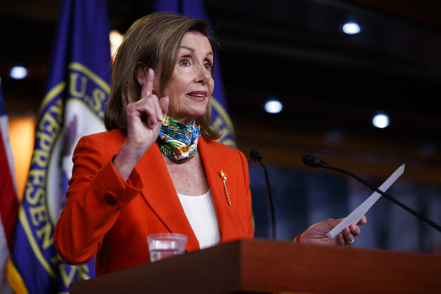 House Speaker Nancy Pelosi of Calif., speaks at a news conference on Capitol Hill in Washington, Friday, June 26, 2020. (AP Photo/Carolyn Kaster)