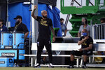 Montreal Impact coach Thierry Henry, left, gestures on the sideline during the first half of an MLS soccer match against Toronto FC, Thursday, July 16, 2020, in Kissimmee, Fla. (AP Photo/John Raoux)