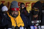 Jacob Blake Sr., father of Jacob Blake, speaks at a rally Monday, Jan. 4, 2021, in Kenosha, Wis. (AP Photo/Morry Gash)