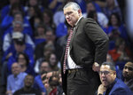 South Carolina head coach Frank Martin watches his team during the second half of an NCAA college basketball game against Kentucky in Lexington, Ky., Tuesday, Feb. 5, 2019. Kentucky won 76-48. (AP Photo/James Crisp)