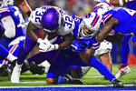Buffalo Bills defensive back Abraham Wallace (35) can't stop Minnesota Vikings running back De'Angelo Henderson (32) from crossing the goal line for a touchdown during the second half of an NFL preseason football game in Orchard Park, N.Y., Thursday, Aug. 29, 2019. (AP Photo/David Dermer)