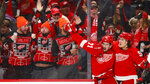 Detroit Red Wings center Dylan Larkin, left, celebrates his goal with Tyler Bertuzzi in the second period of an NHL hockey game against the Ottawa Senators, Friday, Jan. 10, 2020, in Detroit. (AP Photo/Paul Sancya)