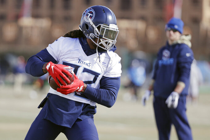 Tennessee Titans running back Derrick Henry runs a drill during an NFL football practice Thursday, Jan. 16, 2020, in Nashville, Tenn. The Titans are scheduled to face the Kansas City Chiefs in the AFC Championship game Sunday. (AP Photo/Mark Humphrey)