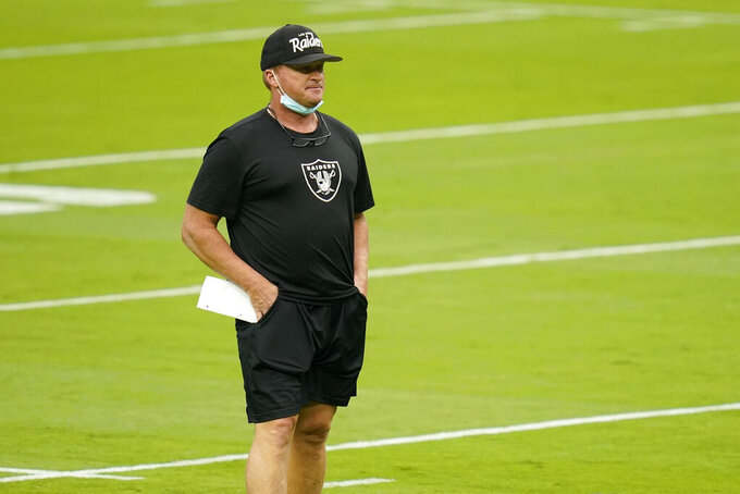 Las Vegas Raiders head coach Jon Gruden watches during an NFL football training camp practice Friday, Aug. 28, 2020, in Las Vegas. (AP Photo/John Locher)