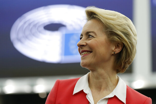 European Commission President Ursula von der Leyen smiles as he arrive at the European Parliament Wednesday, Nov. 27, 2019 in Paris. Ursula von der Leyen, will present her team of Commissioners-designate to the European Parliament and discuss the new Commission's objectives with MEPs (AP Photo/Jean-Francois Badias)