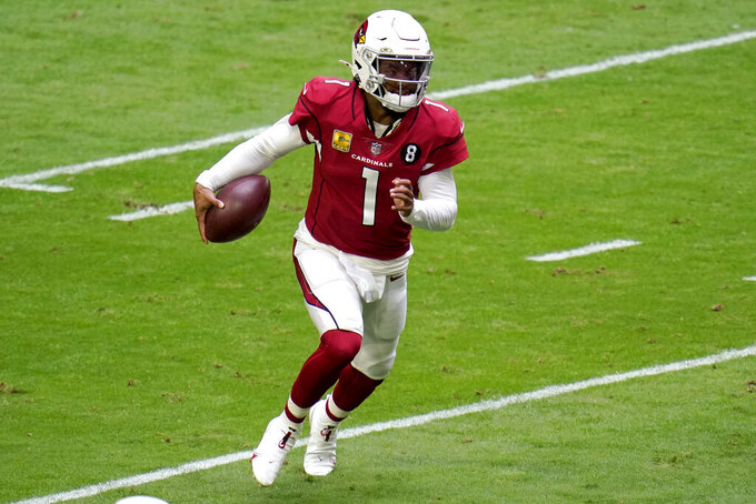 Arizona Cardinals quarterback Kyler Murray (1) scrambles against the Miami Dolphins during the first half of an NFL football game, Sunday, Nov. 8, 2020, in Glendale, Ariz. (AP Photo/Ross D. Franklin)