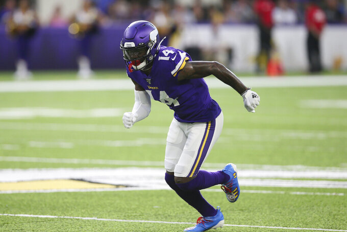 Minnesota Vikings wide receiver Stefon Diggs runs upfield during the first half of an NFL preseason football game against the Seattle Seahawks, Sunday, Aug. 18, 2019, in Minneapolis. (AP Photo/Jim Mone)