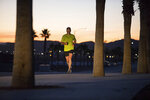 In this Jan. 31, 2019, photo provided by Jimmie Johnson Racing, NASCAR driver Jimmie Johnson runs in Las Vegas. The 83-time winner on the racetrack (sixth-most all-time), Johnson has long been a fitness freak who swam in high school and has run half marathons and triathlons. Johnson plans to run in the Boston Marathon on Monday, April 15. (Adam Moran/Jimmie Johnson Racing via AP)