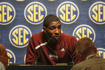 FILE - In this Oct. 16, 2019, file photo, Mississippi State's Reggie Perry speaks during the Southeastern Conference NCAA college basketball media day, in Birmingham, Ala. Perry was selected to the Associated Press All-SEC first team announced Tuesday, March 10, 2020. Perry also tied AP SEC Player of the Year.(AP Photo/Butch Dill, File)