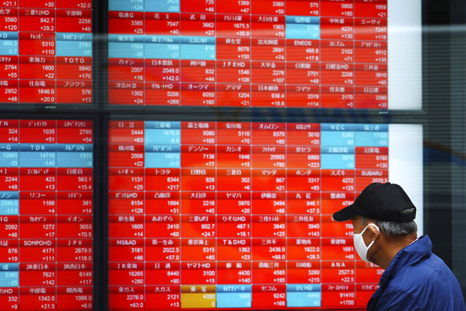 A man wearing a protective mask looks at an electronic stock board showing Japan's Nikkei 225 index at a securities firm Thursday, May 6, 2021, in Tokyo. Asian shares were mixed Thursday on cautious optimism about upcoming company earnings reports showing some recovery from the damage of the coronavirus pandemic. (AP Photo/Eugene Hoshiko)