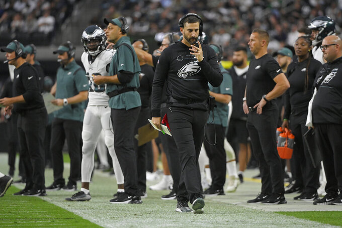 Philadelphia Eagles head coach Nick Sirianni walks on the sidelines during the second half of an NFL football game against the Las Vegas Raiders, Sunday, Oct. 24, 2021, in Las Vegas. (AP Photo/David Becker)