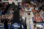 Gonzaga guard Josh Perkins reacts during the first half of the team's West Regional final against Texas Tech in the NCAA men's college basketball tournament Saturday, March 30, 2019, in Anaheim, Calif. (AP Photo/Jae C. Hong)