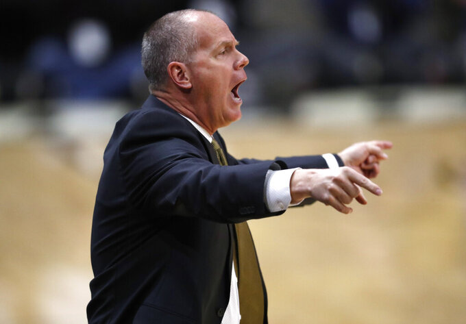 Colorado head coach Tad Boyle directs his team against Arizona in the first half of an NCAA college basketball game Sunday, Feb. 17, 2019, in Boulder, Colo. (AP Photo/David Zalubowski)