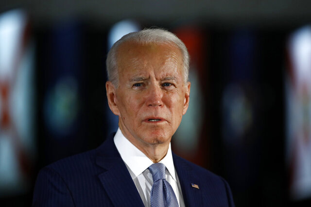 FILE - In this March 10, 2020, file photo Democratic presidential candidate former Vice President Joe Biden speaks to members of the press at the National Constitution Center in Philadelphia. Biden said Friday, May 29, that the