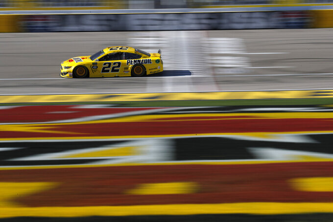 Joey Logano drives during a NASCAR Cup Series auto race at Las Vegas Motor Speedway, Sunday, March 3, 2019, in Las Vegas. (AP Photo/John Locher)