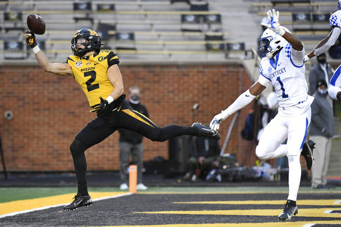 Missouri wide receiver Micah Wilson (2) is unable to catch a pass in the end zone as Kentucky defensive back Kelvin Joseph (1) watches during the second half of an NCAA college football game Saturday, Oct. 24, 2020, in Columbia, Mo. (AP Photo/L.G. Patterson)